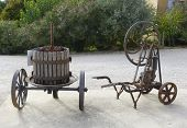 picture of wine-press  - Old wine press at the vineyard in Provence - JPG