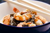Japanese buckwheat noodles with prawns, soya sauce and sesame