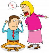 stock photo of fussy  - Illustration of a poor man with his Angry Wife - JPG