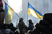 KIEV, UKRAINE - February 3, 2014: Ukrainian revolution. Euromaidan, life on the barricades.