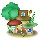 stock photo of fairy-mushroom  - Group of three fairy mushroom houses and tree - JPG