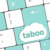 foto of taboo  - Computer keys spell out the word taboo - JPG