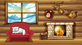 picture of stuffed animals  - Illustration of a living room with stuffed animal head decors - JPG