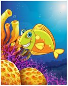 stock photo of underworld  - Illustration of a smiling fish under the sea on a white background - JPG