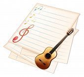 pic of g-string  - Illustration of an empty music paper with a guitar on a white background - JPG