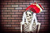 stock photo of cree  - Skeleton wearing a Native American headdress - JPG