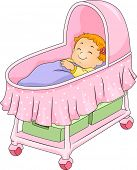 stock photo of bassinet  - Illustration of a Little Girl Lying on a Bassinet - JPG