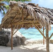 foto of creole  - Creole hut seaside with turquoise water of indian ocean in background - JPG