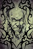 image of piercings  - Tattoo devil with piercing over vintage paper - JPG