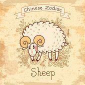 stock photo of sheep-dog  - Vintage card with Chinese zodiac  - JPG