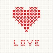 image of macrame  - Valentine card with embroidered heart - JPG