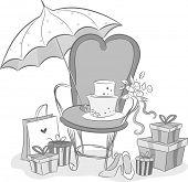 stock photo of embellish  - Black and White Illustration Featuring Bridal Shower Embellishments - JPG