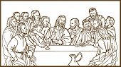 stock photo of judas  - illustration of the last supper of Jesus Christ the savior and his disciples - JPG