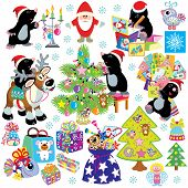 pic of mole  - set with cartoon mole prepare the house for christmas and new year - JPG