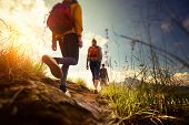 foto of cross hill  - Group of hikers walking in mountains - JPG