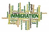 pic of deportation  - Immigration word cloud on white background - JPG