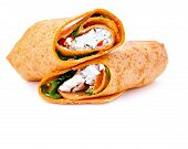 picture of sandwich wrap  - Wrap sandwich with feta cheese tomatoes and basil - JPG