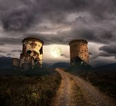 stock photo of funny ghost  - Apocalyptic scenery with road - JPG