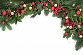 image of mistletoe  - Christmas background floral border with bauble decorations - JPG