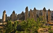 stock photo of goreme  - Cappadocia Stone columns in Gorcelid Valley near the town Goreme Turkey - JPG