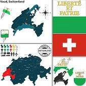 image of vd  - Vector map of canton Vaud with coat of arms and location on Switzerland map - JPG