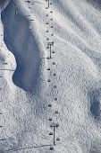 stock photo of sochi  - Chairlift in a ski resort Krasnaya Polyana - JPG