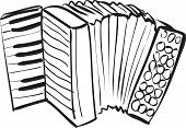 stock photo of accordion  - Vector illustration of accordion in black and white doodle sketch - JPG