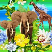image of jungle flowers  - vector jungle pattern of elephants - JPG