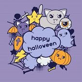 stock photo of kawaii  - Halloween kawaii greeting card with cute doodles - JPG