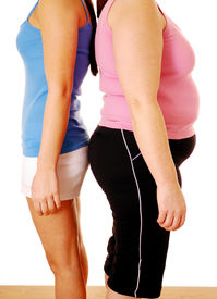 stock photo of body shapes  - Comparing the different extremes of  body shape - JPG