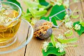 picture of linden-tree  - Metal sieve with dried flowers of linden - JPG