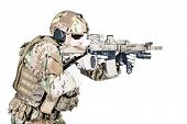 stock photo of assault-rifle  - Bearded special warfare operator with assault rifle - JPG
