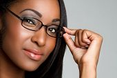 foto of african american woman  - African american business woman wearing glasses closeup - JPG