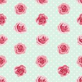 image of english rose  - Flower seamless pattern with roses - JPG