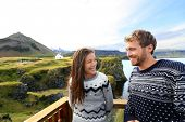picture of yoke  - Tourist couple on romantic travel on Iceland - JPG