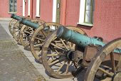 pic of artillery  - Old artillery cannons near wall Peter and Paul Fortress St.Petersburg. Russia.