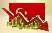picture of turkish lira  - 3D finance graph  - JPG
