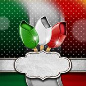picture of italian flag  - Background with italian flag three ice creams with stick and empty label - JPG