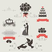 pic of ring-dove  - Set of vintage elements for wedding invitation vector - JPG