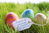 pic of philosophy  - Colorful Easter Background With Three Easter Eggs And Label With English Life Quote There Is Always A Reason To Smile Green Grass For Happy Easter Seasons Greetings - JPG