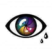 pic of tears  - Open Cyber Eye Icon with tears - JPG