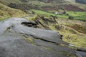 stock photo of collapse  - Collapsed A625 road in Peak District UK - JPG
