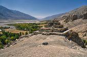 image of karakoram  - Scenic ancient ruins on the ridge in Pamir mountains in Tajikistan - JPG