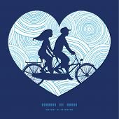 pic of tandem bicycle  - Vector doodle circle water texture couple on tandem bicycle heart silhouette frame pattern greeting card template graphic design - JPG