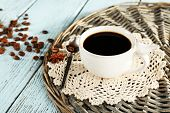 stock photo of doilies  - Cup of coffee with lace doily - JPG