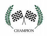 picture of chassis  - Winning laurel with checkered flags for racing competitions - JPG