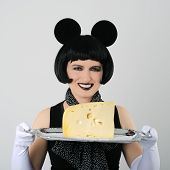 image of fancy mouse  - woman in fancy dress holding tray with cheese - JPG