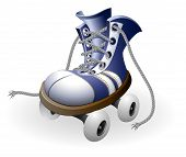 pic of roller-skating  - blue roller skates with untied lace vector illustration isolated on white background - JPG