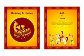 stock photo of dhol  - vector illustration of Indian wedding invitation card - JPG
