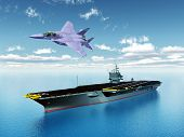 stock photo of fighter plane  - Computer generated 3D illustration with an Aircraft Carrier and a Fighter Plane - JPG